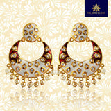 Fancy Partywear Meenakari Chandbali Earring White Maroon Color with Golden Touch