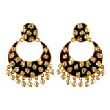 Fancy Partywear Meenakari Chandbali Earring Black Maroon Color with Golden Touch