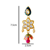 Meenakari Kundan Floral Style Jhumki Earrings For Women Pink Multi