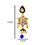 Meenakari Kundan Floral Style Jhumki Earrings For Women White Multi