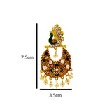 Meenakari Peacock Chandbali Earrings For Women Maroon Multi