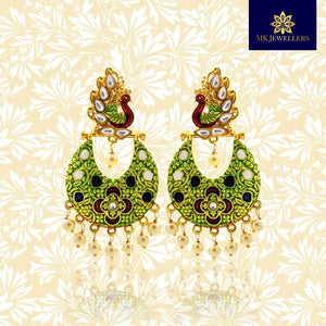 Kundan Meenakari Antique Chandbali Earrings Peacock Design