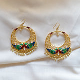 Designer Meenakari Peacock Style Chandbali Earrings Maroon Multi