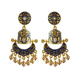 Elegant Meenakari Bali Jhumki Earrings With Pearl Royal Blue