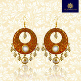 Meenakari Chandbali Earrings With Pearls For Women Orange Color