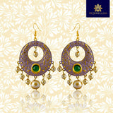 Kundan Meenakari Chandbali Earrings With Pearls For Women Light Purple