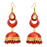 Kundan Meenakari Bali Jhumki Earrings Flower Design Maroon