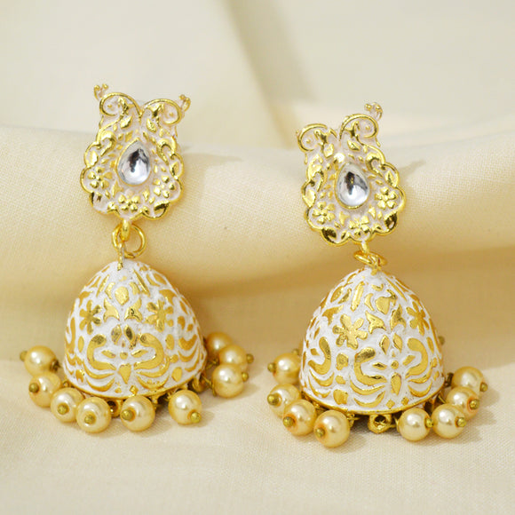Kundan Mate Jhumki Earrings Dual Peacock Design White