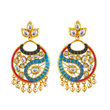 Kundan Meenakari Bali Gold Plated Earrings Firoza
