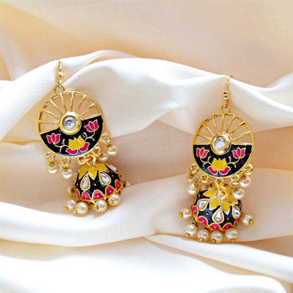 Trendy Kundan Meenakari Bali Jhumki Earrings Black Multi