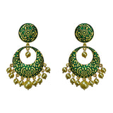 Kundan Meenakari Bali Circular Shape Earrings Green