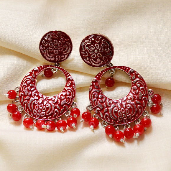 Kundan Meenakari Bali Circular Shape Earrings Red