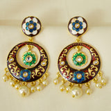 Maroon Meenakari Earrings With Detailed Flower Work