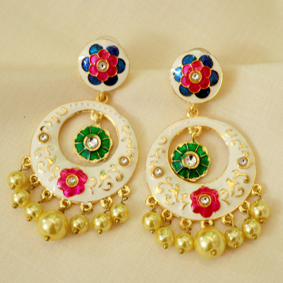 White Meenakari Earrings With Detailed Flower Work