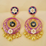 Light Purple Meenakari Earrings With Detailed Flower Work