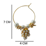 Hand Crafted Meenakari Inspired White Colored Golden Hoop Bali Jhumki