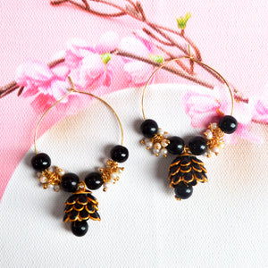 Hand Crafted Meenakari Inspired Black Colored Golden Hoop Bali Jhumki
