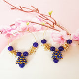 Hand Crafted Meenakari Inspired Royal Blue Colored Golden Hoop Bali Jhumki