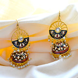 Meenakari Handcrafted White Red Color Lotus Design Pearl Drop Jhumki Earring