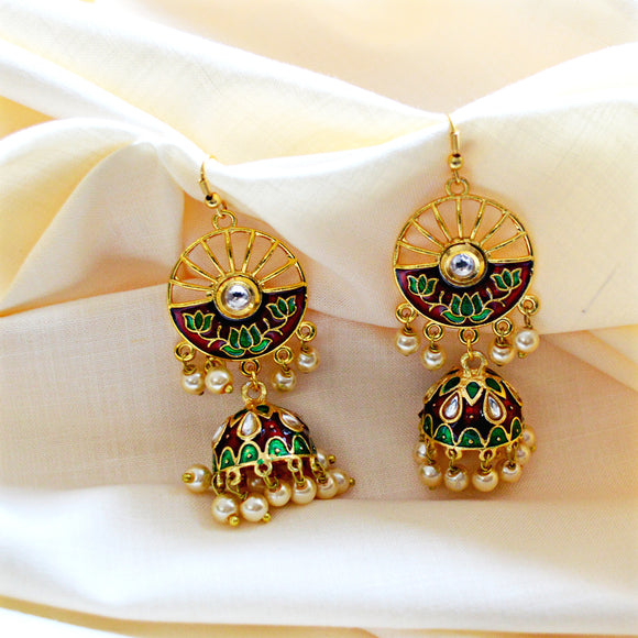 Meenakari Handcrafted Green Maroon Color Lotus Design Pearl Drop Jhumki