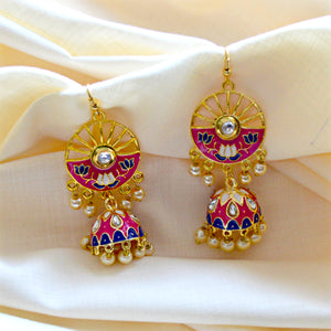 Meenakari Handcrafted Pink Blue Color Lotus Design Pearl Drop Jhumki
