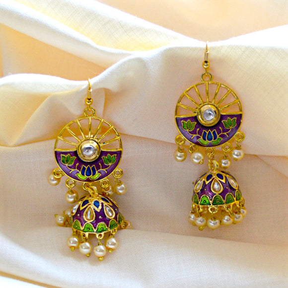 Traditional Bali Jhumki Earrings In Golden Purple Combination For Woman And Girls