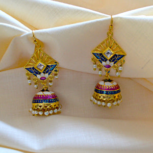 Elegant Bali Jhumki Earrings In Blue White Color For Woman And Girls