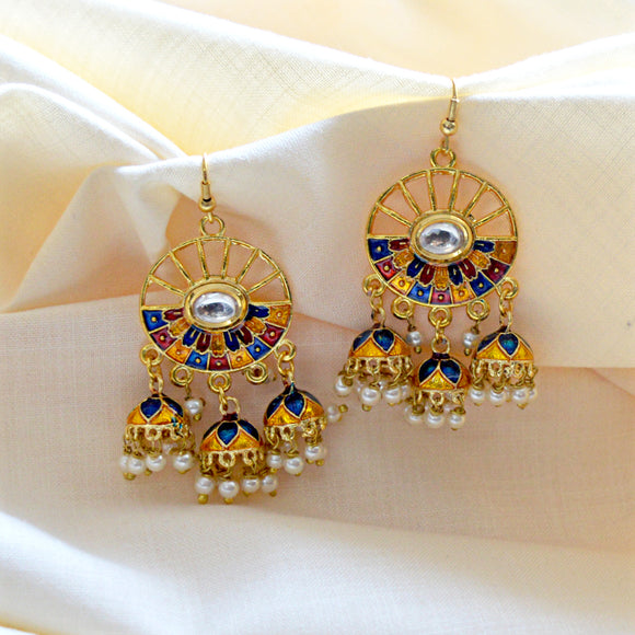 Magnificent Meenakari Bali Jhumki Earrings In Blue Yellow Color For Woman And Girls
