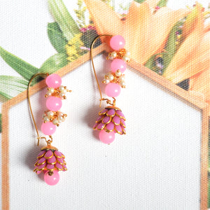 Traditional Meenakari Pearl Baby Pink Jhumki Earings For Women And Girls