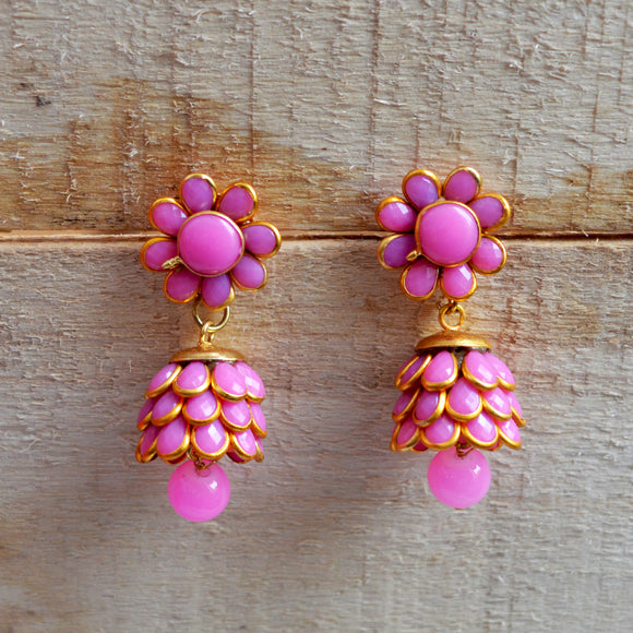 Traditional Meenakari Flower Design Baby Pink Jhumki Earings For Women And Girls