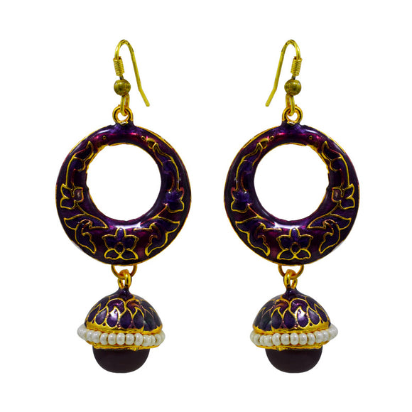 Exclusive Meenakari Purple Color Bali Jhumki Earrings For Women And Girls