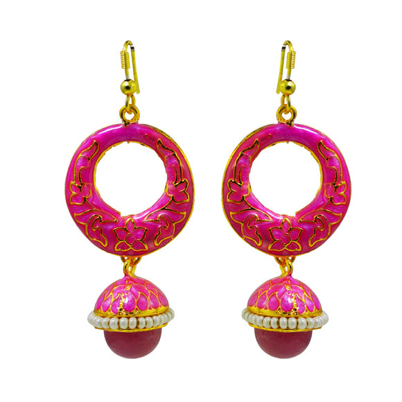 Exclusive Meenakari Pink Color Bali Jhumki Earrings For Women And Girls