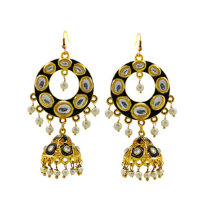 Ethnic Kundan Meenakari Bali Jhumki Earrings Dark Blue