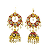 Ethnic Kundan Meenakari Bali Jhumki Earrings Pink