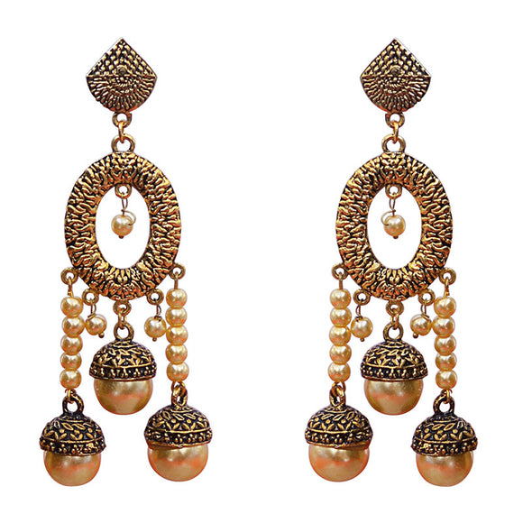 Kundan Meenakari Bali Jhumki Pearl String Earrings Black