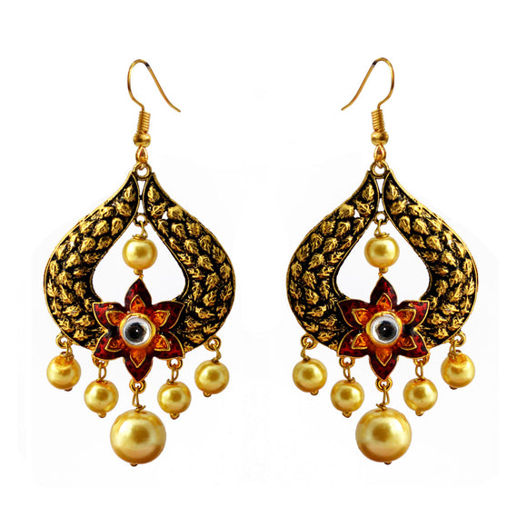 Kundan Meena Bali Gold Plated Dangler Earrings Red Yellow