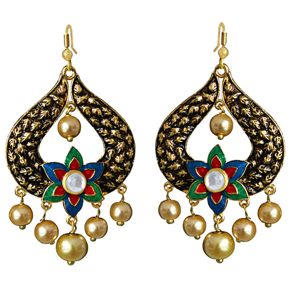 Kundan Meena Bali Gold Plated Dangler Earrings Green Blue