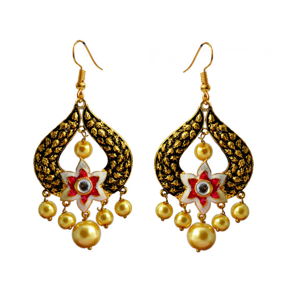 Kundan Meena Bali Gold Plated Dangler Earrings White Pink