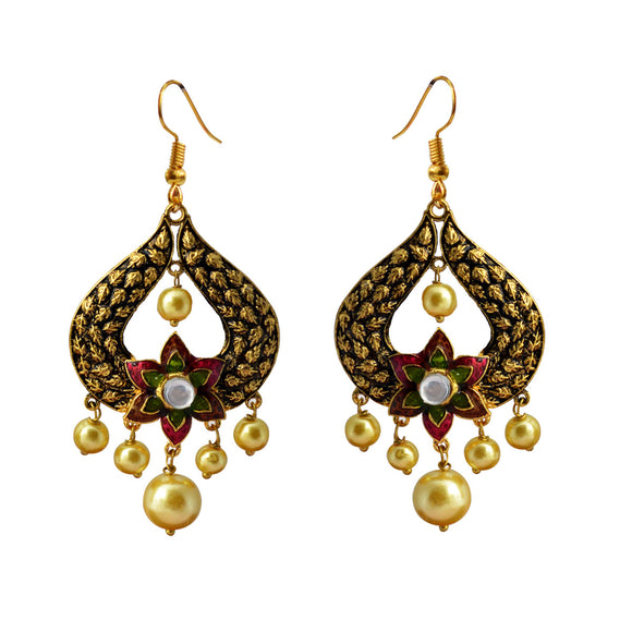 Kundan Meena Bali Gold Plated Dangler Earrings Brown Pink