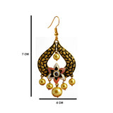 Kundan Meena Bali Gold Plated Dangler Earrings Pink White