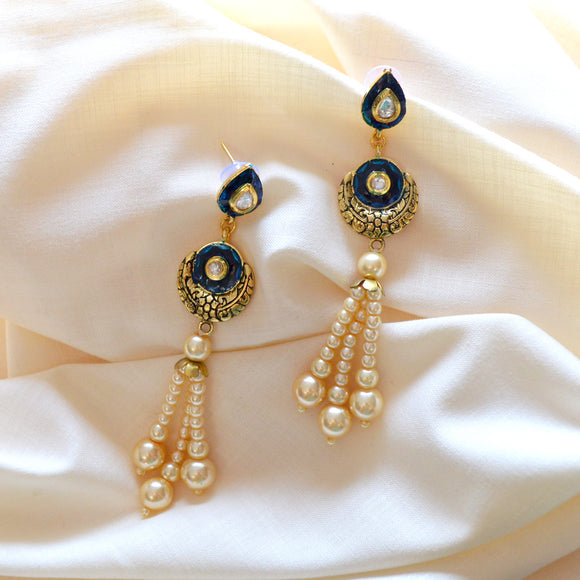 Kundan Meena Bali Pearl String Dangler Earrings Blue