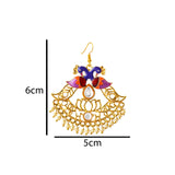 Kundan Meena Bali Dangler Dual Peacock Earrings Purple Orange