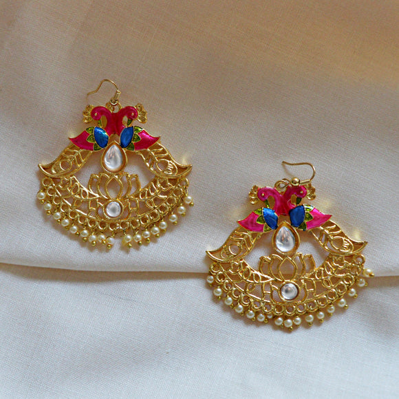 Kundan Meena Bali Dangler Dual Peacock Earrings Pink Blue