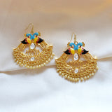 Kundan Meena Bali Dangler Dual Peacock Earrings Sky Blue Yellow