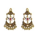 Kundan Meenakari Triple Layer Chandbali Dangler Earrings White