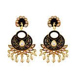 Kundan Meenakari Bali Peacock Shape Earrings Maroon