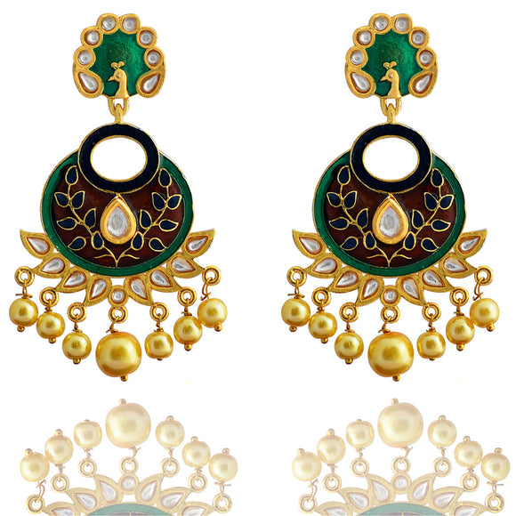 Kundan Meenakari Bali Peacock Shape Earrings Green Brown