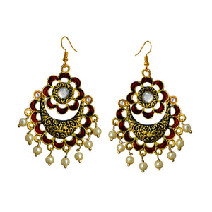 Kundan Meenakari Bali Dangler Flower Design Earrings Maroon