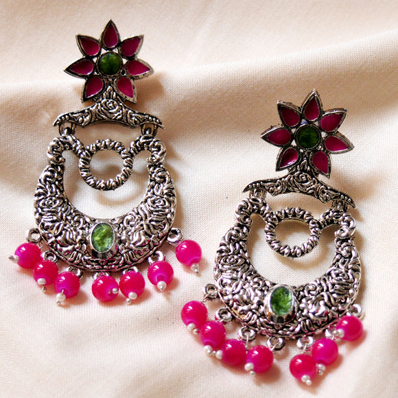 German Silver Oxidized Bali Earrings Flower Design Rani Mehandi