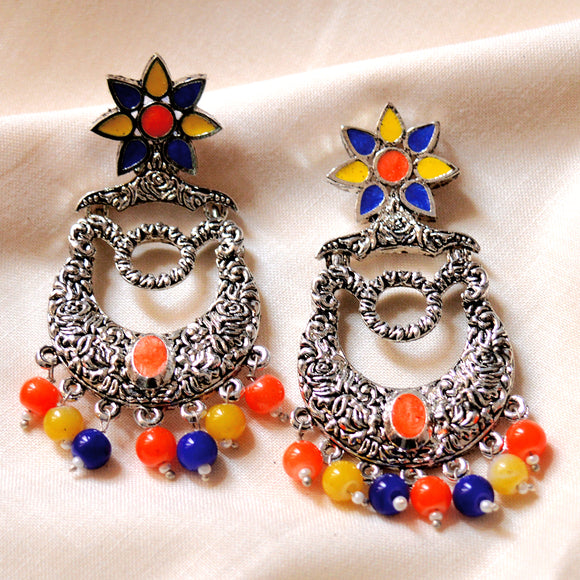 German Silver Oxidized Bali Earrings Flower Design Royal Blue Yellow